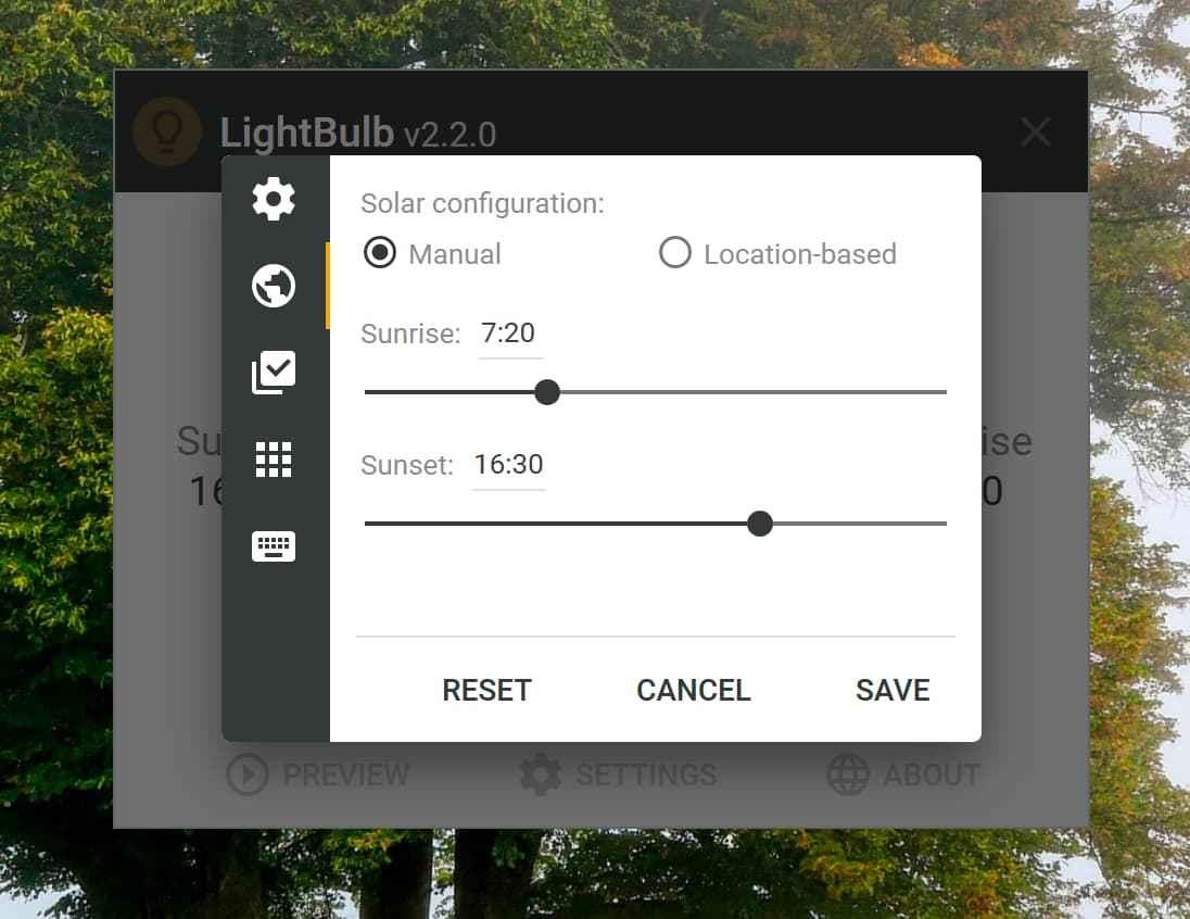 LightBulb – 保护视力,自动根据时间调整显示器伽马值